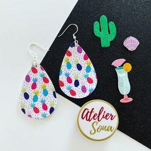 Summer Pineapple Tear Drop Earrings - Multi Color